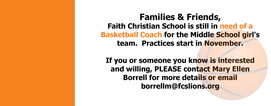 Middle School Girl's Basketball Coach Needed