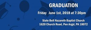 Graduation – Friday, June 1st, 2018 at 7:30pm